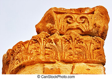 Antique column - A column on excavation of a palace of tsar...