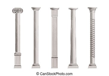 Antique columns 3d realistic vector collection
