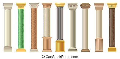Antique columns and pilars set, classic stone columns in different styles vector Illustrations on a white background