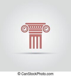 antique columns isolated vector colored icon