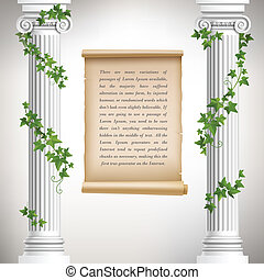 Antique columns poster - Antique greek columns with vine and...