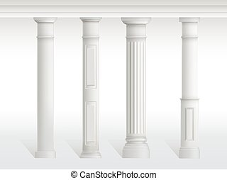 Antique columns set, figured pillars balustrade
