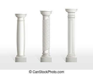 Antique columns set isolated on white background.