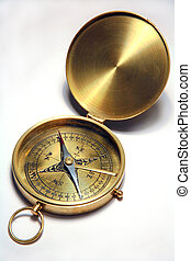 Antique compass - An antique, brass compass