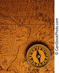Antique compass - Antique brass compass over old map...