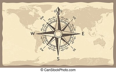 Antique compass on world map. Vintage geographic history maps with marine compasses arrows vector illustration