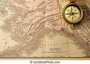 Antique compass over old XIX century map - Antique brass...
