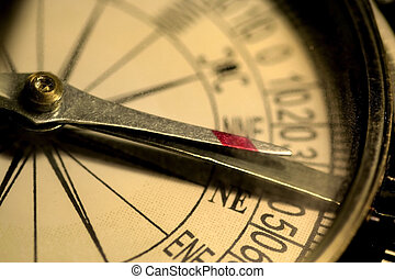 Antique Compass - Close up shot antique compass in sepia...