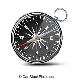 Antique Compass Vector. Metal Compass 3d Object. Isolated Illustration