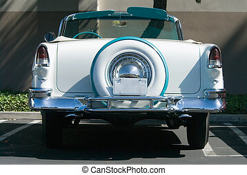 Back view of classic collectable convertible from the fifties
