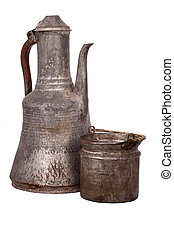 Antique copper jug on the white background