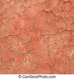antique crackled red painted wall, detail of facade in Forbidden