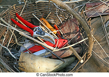 antique craftsman tools for the creation of wicker baskets