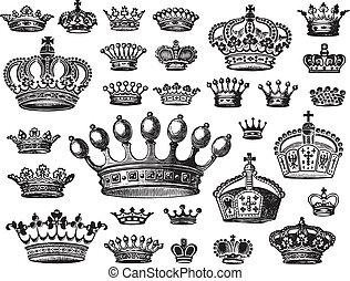 set of antique crowns engravings; scalable and editable vector illustrations;