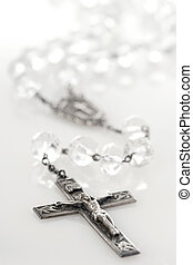 Antique crystal rosary with reflection