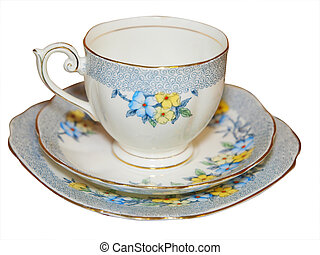 Antique Cup Saucer and Plate isolated with clipping path