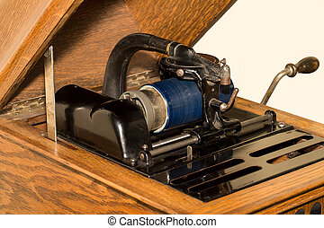 Antique Cylinder Phonograph Detail