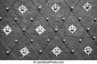 Antique decorated metal door background