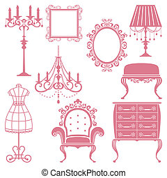 Antique design element set - Illustration vector