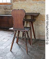 Antique desk in a castle