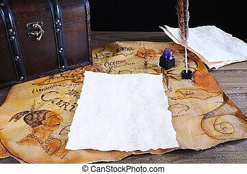 Antique desk with parchments