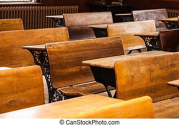 Antique desks in school house