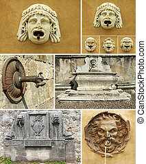 antique details of fountains collage