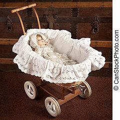 Antique doll in cradle