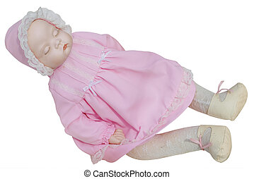 Antique Doll in Pink Dress isolated with clipping path