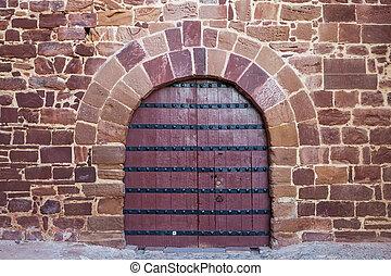 Antique doors, gates Portuguese castle. Silves.
