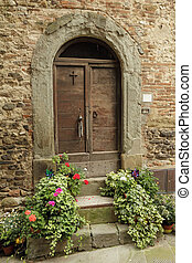antique doorway to the tuscan house