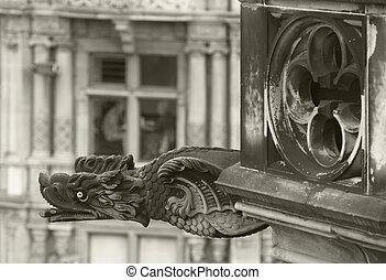 Antique dragon shaped gargoyle in Edinburgh, Scotland. UK....
