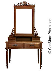 Antique Dressing Table with wood frame Mirror isolated on white background
