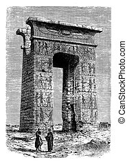 Antique Egypt ,  Karnak portal ruins, engraving middle '800