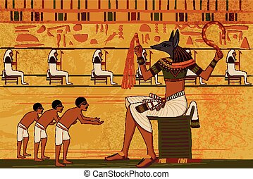 Antique Egyptian papyrus and hieroglyph background - easy to...