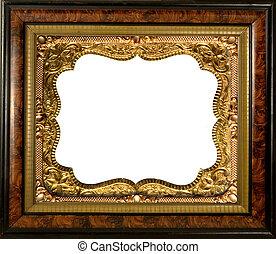 antique fancy wood frame with metal insert -empty inside