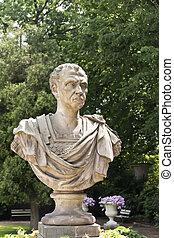 Antique Emperor Julius Ceasar. Marble sculpture.