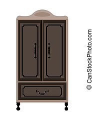 Antique engraved wardrobe on legs in dark colors