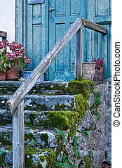 Antique Entry with dosh on the stone steps