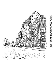 Antique European street. Vector sketch.