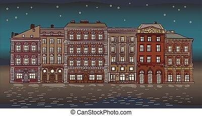 Antique European street. Night Summer city landscape.