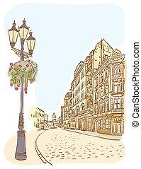 Antique European street. Summer city landscape.