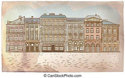 Antique European street. Vintage post card.
