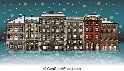 Antique European street. Winter Night city landscape.