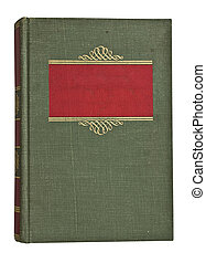 Antique faded green and red book isolated on white