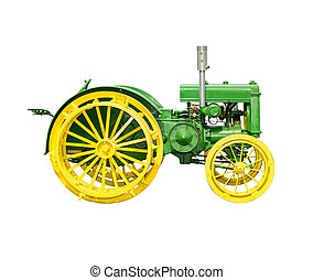 Antique Farm Tractor Isolated on Wh - Antique John Deere ...