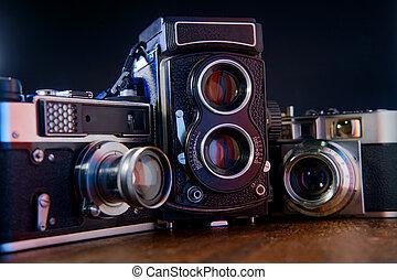 Antique Film Camera - Antique film camera on rustic table ...