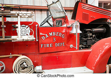 Antique Fire Truck with Hood Open