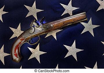 Antique Flintlock Pistol. - Antique flintlock pistol carved...