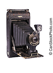 Antique folding camera on white background